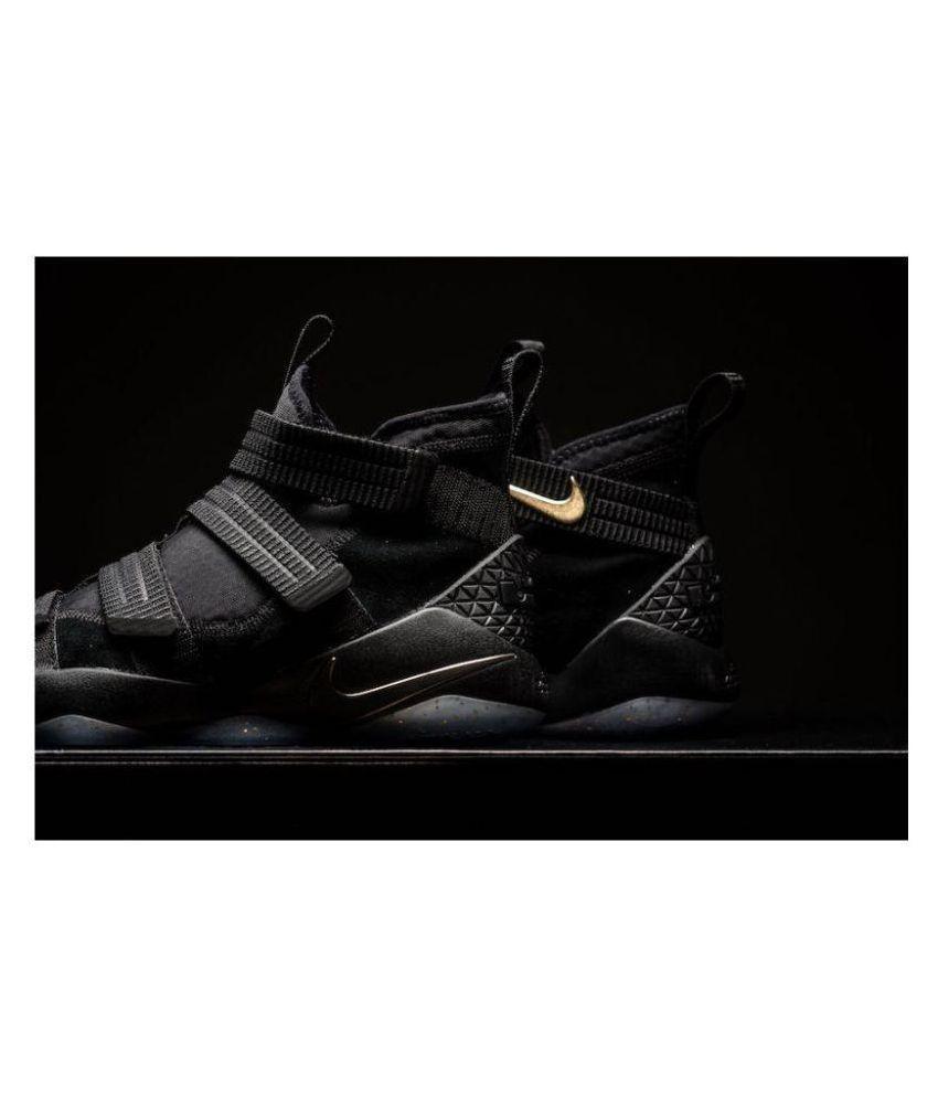 promo code 7f4b4 f1d7b ... Nike Lebron Soldier 11 Finals Black Metallic Gold Midankle Male Black  ...