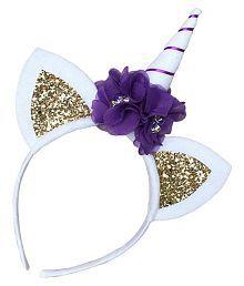 Kids Unicorn Horn Ears Flower Headband Headdress Party Headwear Cute Decoration