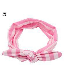 Baby Kids Girls Cotton Bowknot Tie Ear Striped Headband Headwrap Headwear Hair Band