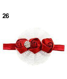 Cute Baby Kids Girl Rose Flower Headband Princess Lace Ribbon Elastic Headwear