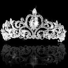Women's Wedding Bridal Princess Rhinestone Prom Hair Tiara Crown Veil Headband