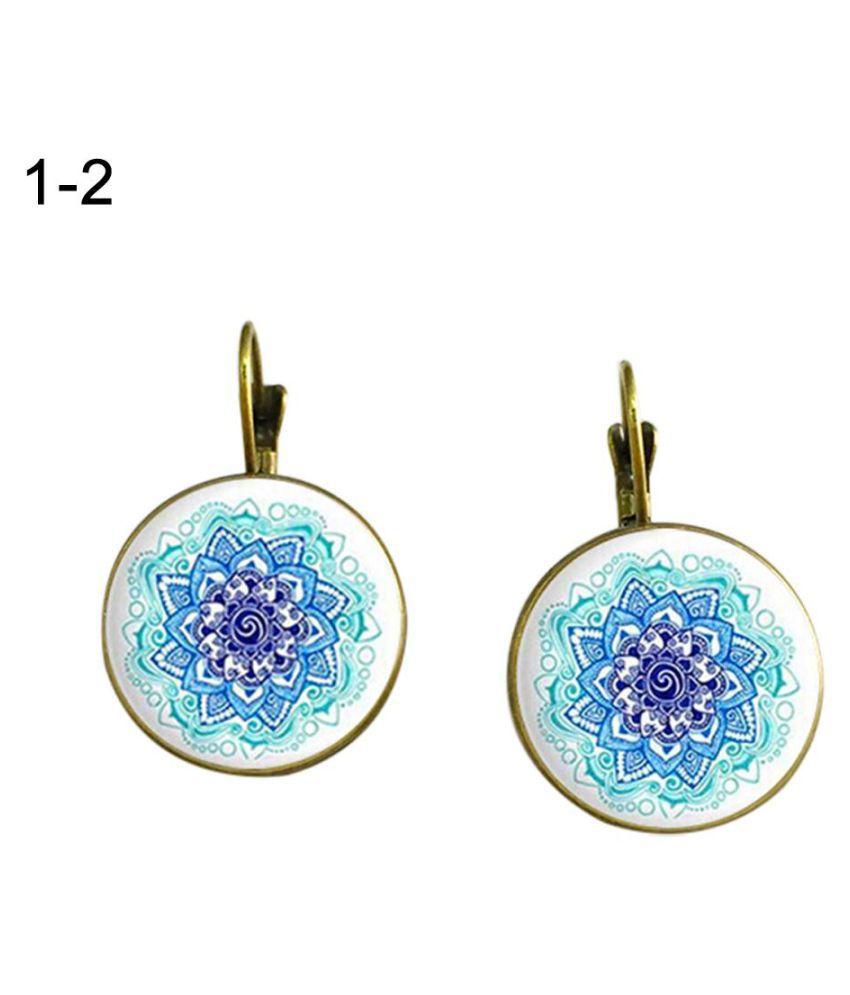 Vintage Flower Lotus Mandala Glass Cabochon Leverback Earrings Women Jewelry Fashion Jewellery