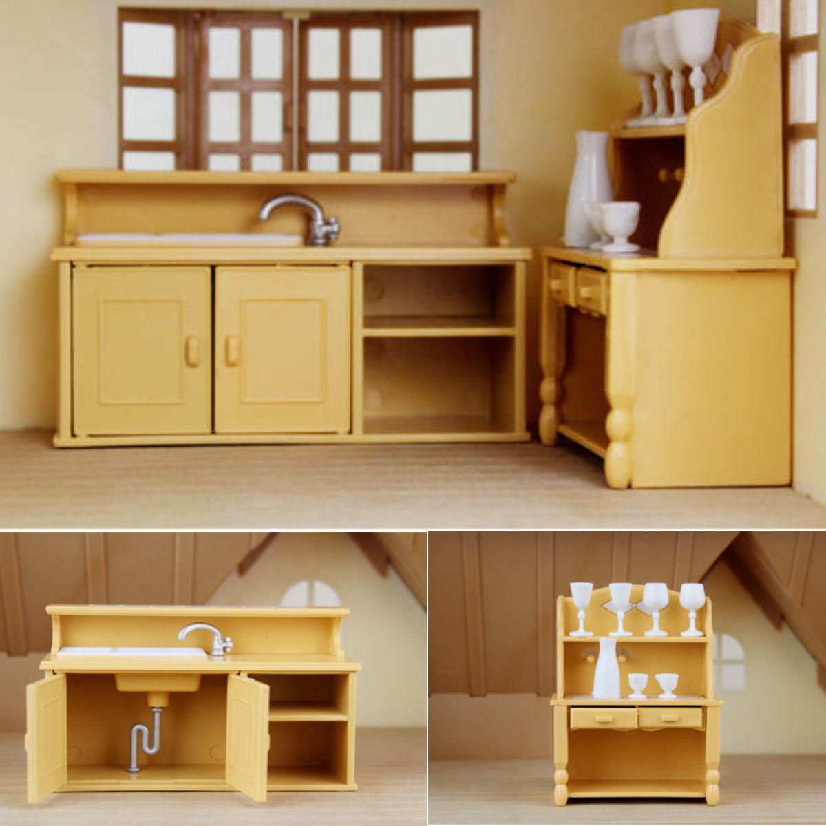 Buy Kitchen Furniture Online: Cabinets Plastic Kitchen Miniature DollHouse Furniture