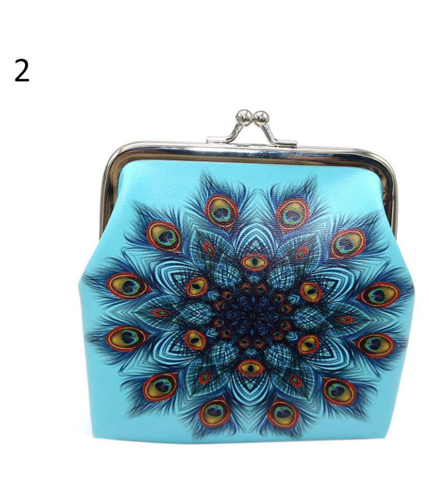 1 Pc Retro Feather Printed Faux Leather Hasp Closure Women Coin Purse Card Key Bag