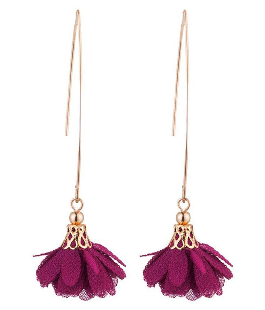 Women Long Dangle Flower Earrings Wedding Party Banquet Vintage Piercing Jewelry Fashion Jewellery