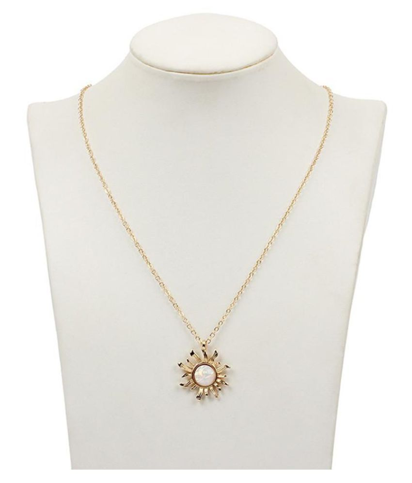Bohemia Opal Sun Pendent Stone Long Necklace Wedding Gift Jewelry for Women Girl Fashion Jewellery