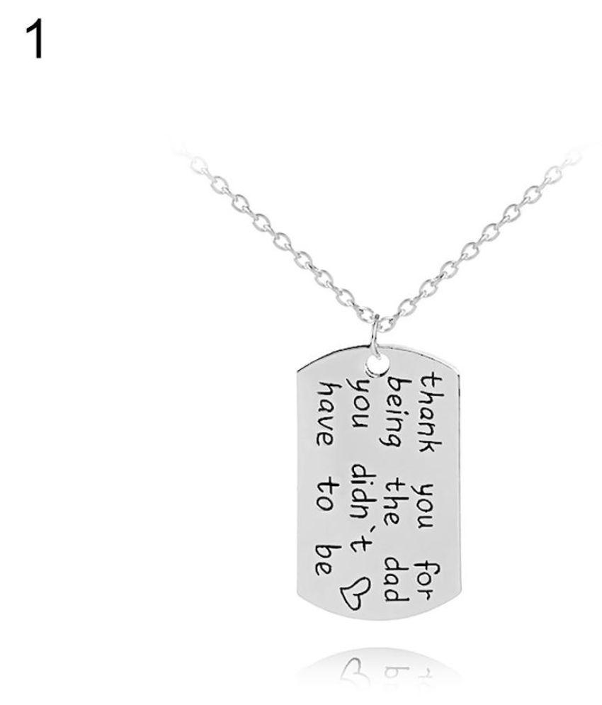 Punk Men's Necklack Inspirational Words Pendant Square Shape Keychain Jewelry Fashion Jewellery