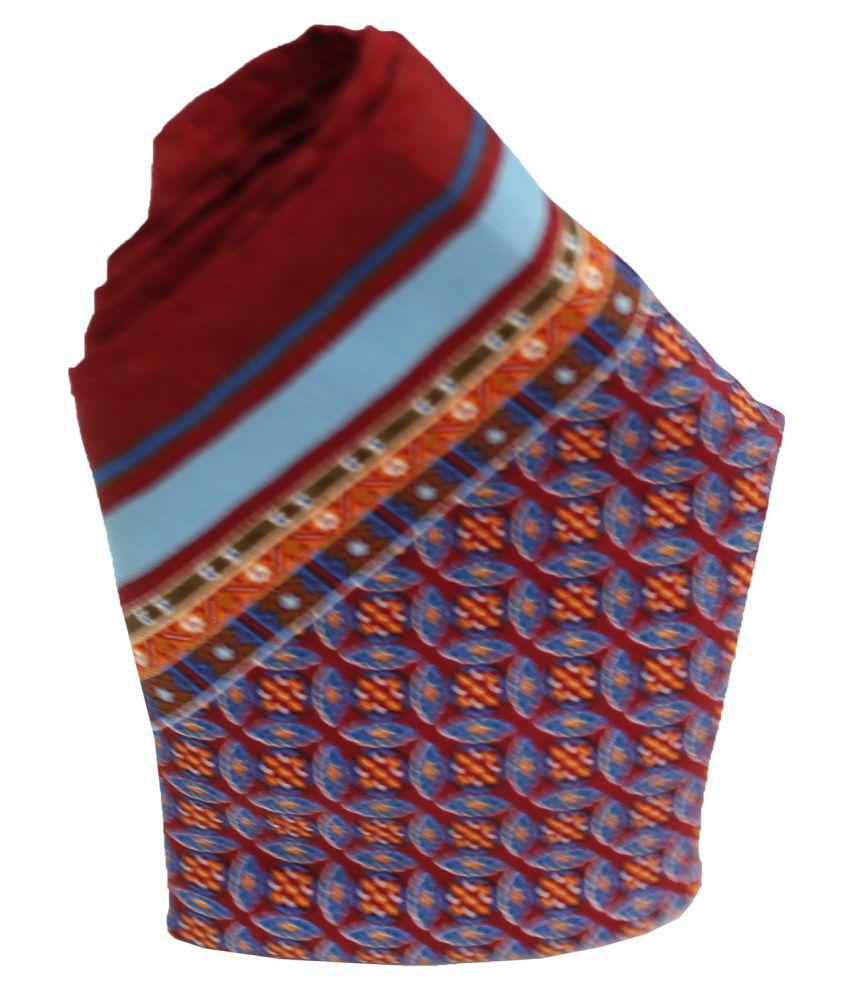 Leonardi Men's Orange Polyester Free Size Printed Pocket Square