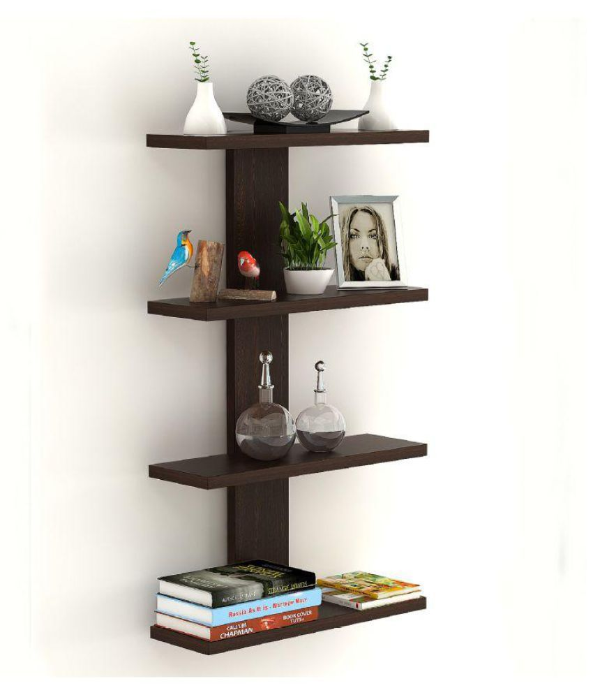 Bluewud Stellar Plus Decor Wall Shelf/Display Rack (Wenge, Large)