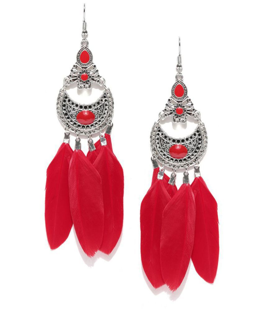 Jewels Galaxy Luxuria Delicate Antique Feather Colorful Pair of Chandelier Earrings For Women/Girls