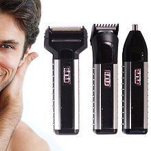 SJ Maxel 3 in 1 Cordless Shaver Ear Mustache Beard Hair Nose Trimmer Foil Shaver ( Silver & Black )