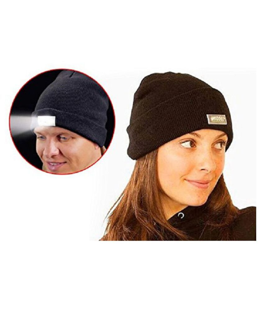 JERN Winter Knitting Skull Cap 5 LED Hands Free Lighted Beanie Hat with Headlamp