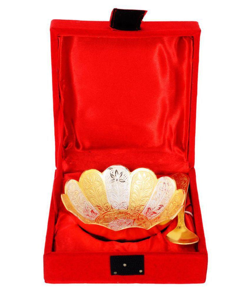 Kesar Zems Zinc Bowl with Spoon Set (12 cm x 12 cm x 5 cm, Gold, Pack of 2)