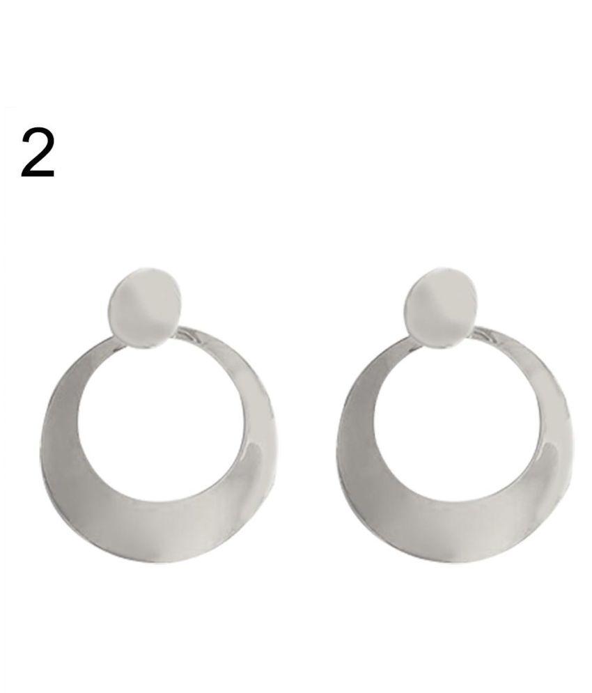 Women's Chic Metal Hoop Mirror Big Long Drop Earrings Dangle Statement Eardrops Fashion Jewellery
