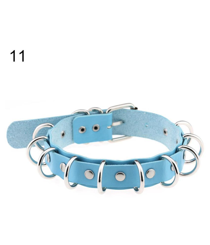 Women Punk Rivets Double Layers Alloy Rings Faux Leather Choker Collar Necklace Fashion Jewellery