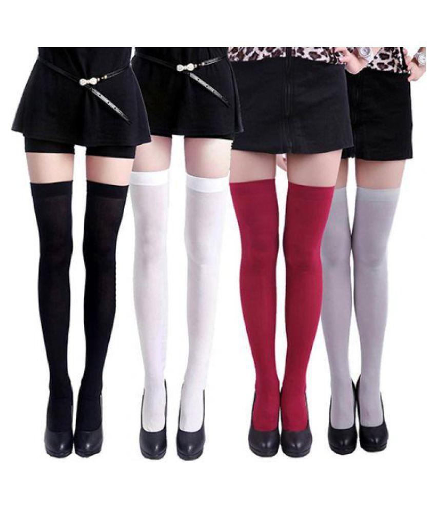 d1e3e0990 ... Women s Sexy Pure Color Opaque Sexy Thigh High Stockings Over The Knee  Socks ...