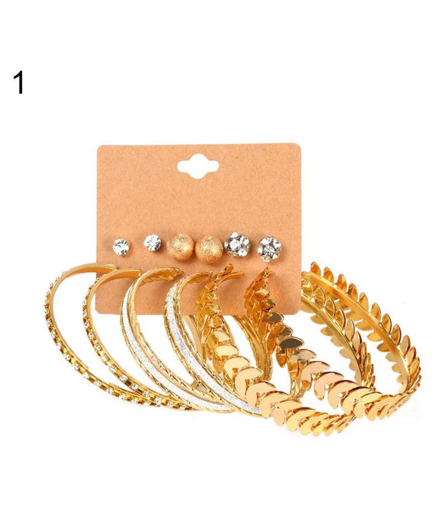 6 Pairs Women Fashion Rhinestone Circle Ear Hoops Stud Earrings Set Jewelry Fashion Jewellery