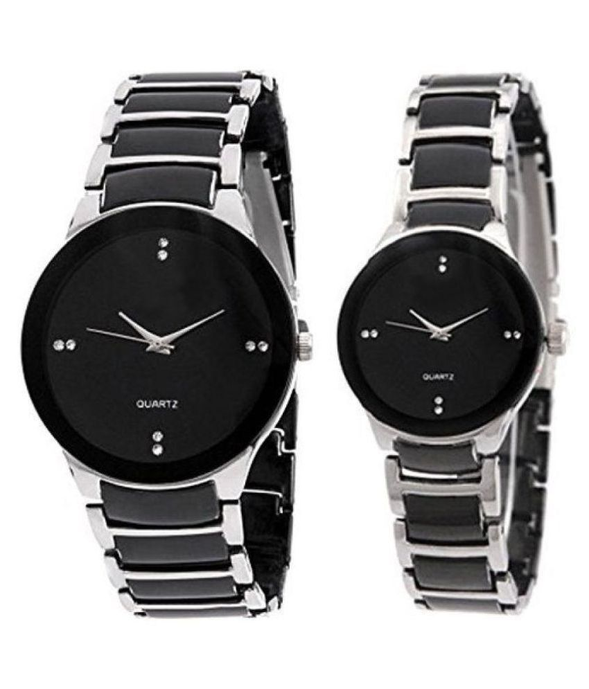 New Stylish Collection For Silver Black colour Couple Watch