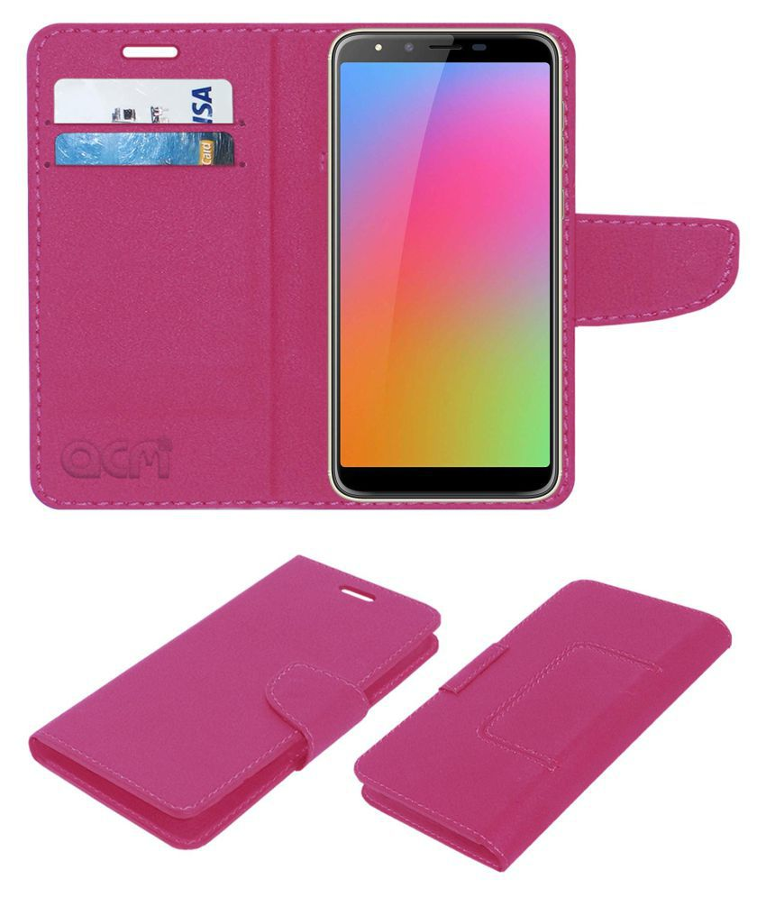HOMTOM H5 Flip Cover by ACM - Pink Wallet Case,Can store 2 Card/Cash