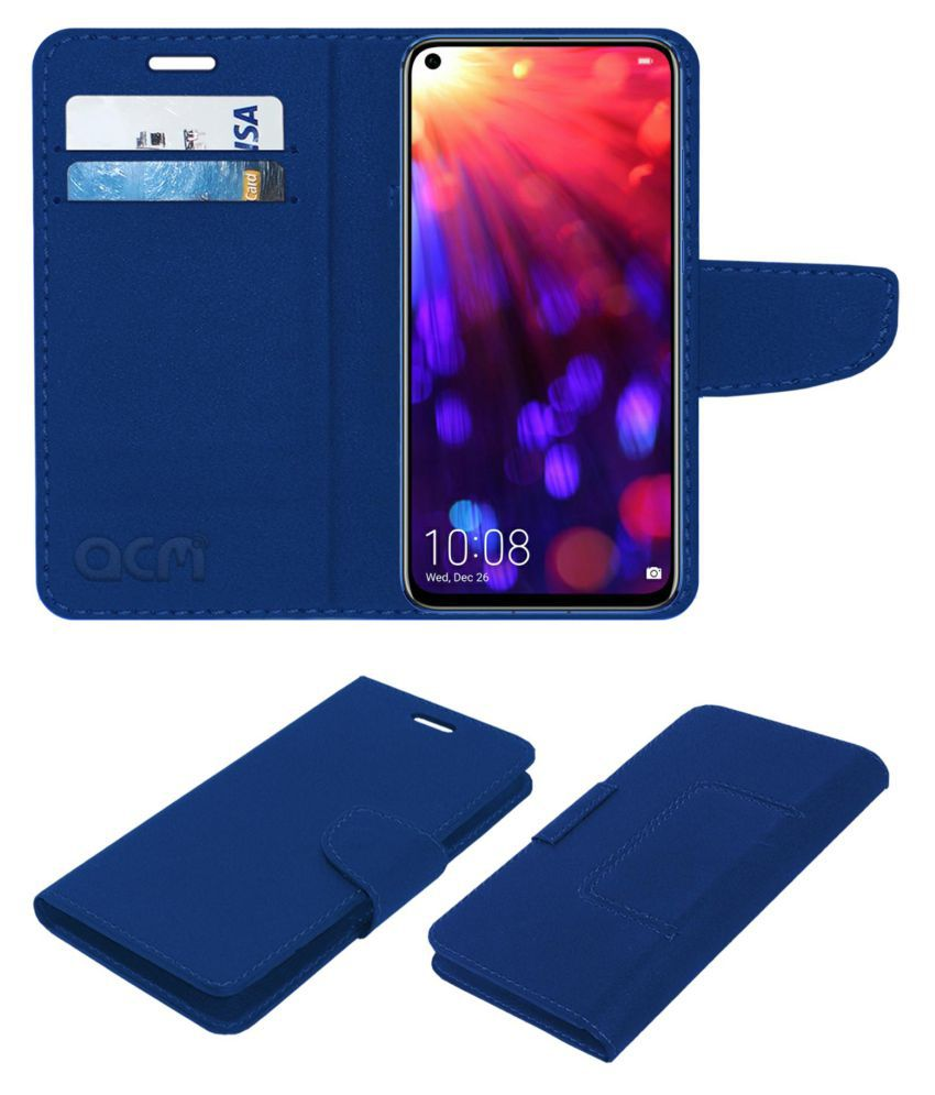 Honor View 20 Flip Cover by ACM - Blue Wallet Case,Can store 2 Card/Cash