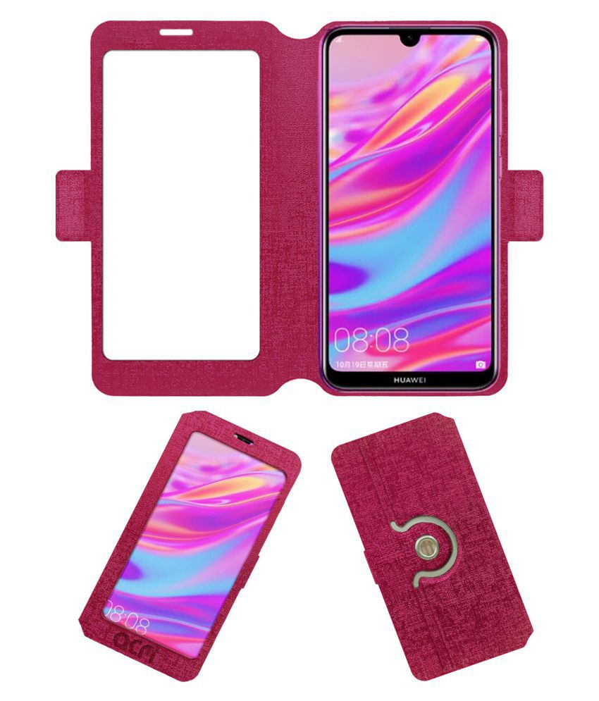 Huawei Enjoy 9 Flip Cover by ACM - Pink Dual Side Stand