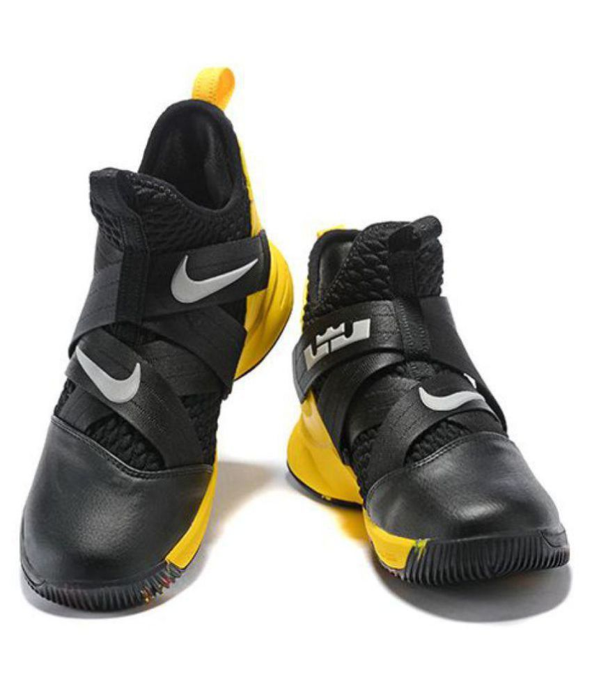 72ee6e54b3e Nike Lebron soldier 12 black yellow Midankle Male Black  Buy Online at Best  Price on Snapdeal