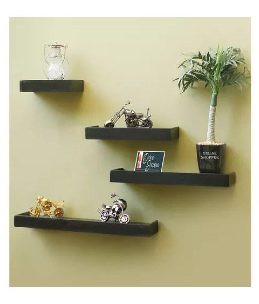 Onlineshoppee Floating Shelves Black Wood - Pack of 4