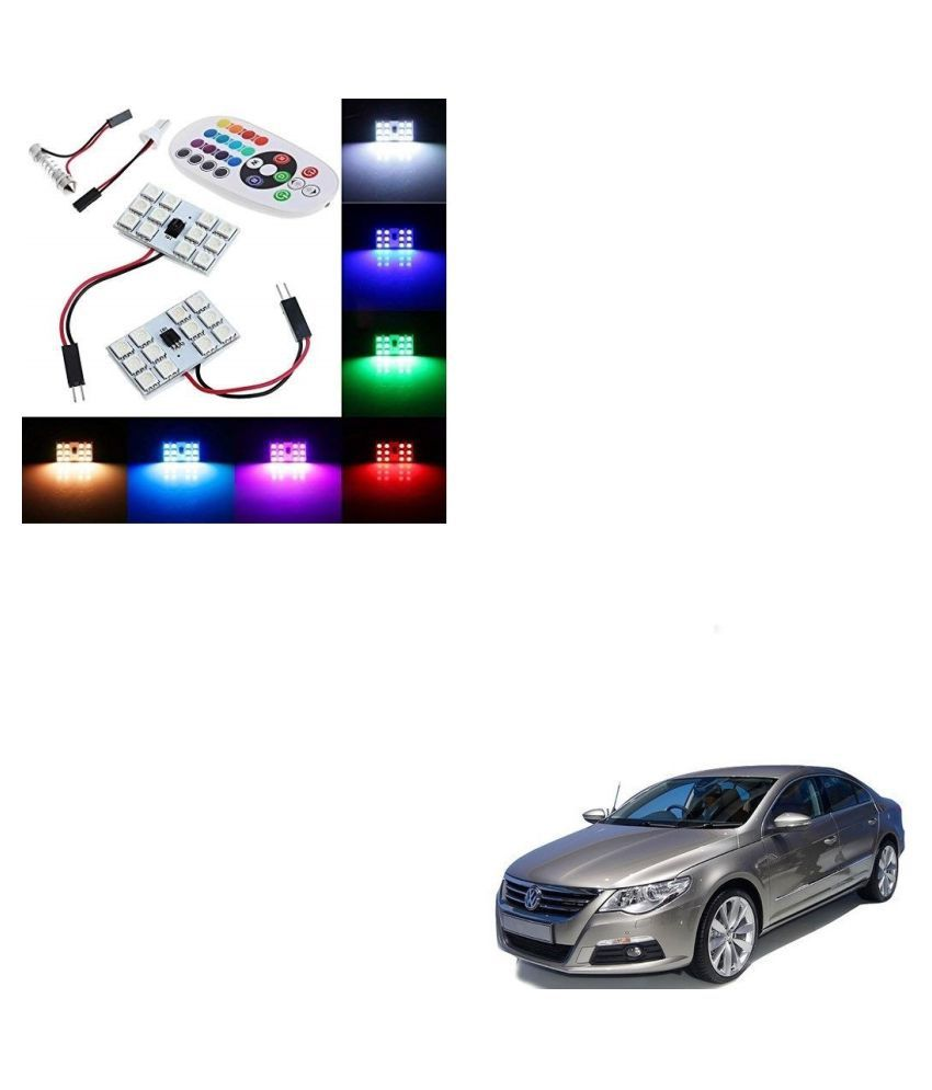 Auto Addict Car 12 LED RGB Roof Light with IR Remote Car Fancy Lights For Volkswagen Passat