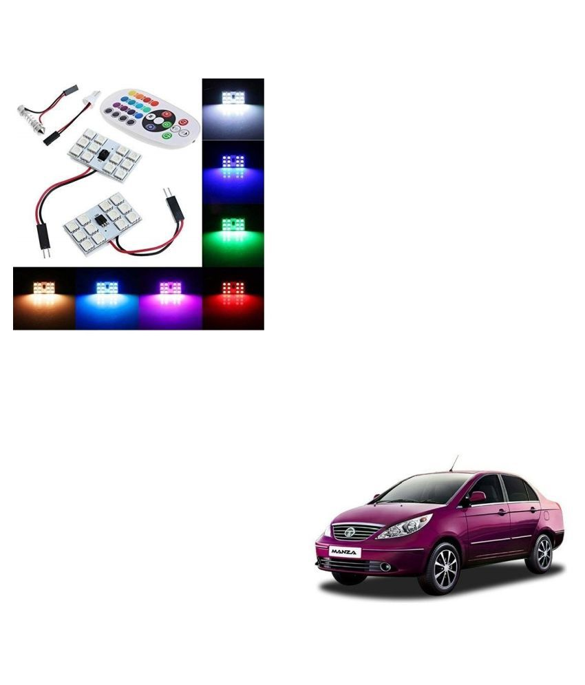 Auto Addict Car 12 LED RGB Roof Light with IR Remote Car Fancy Lights For Tata Manza