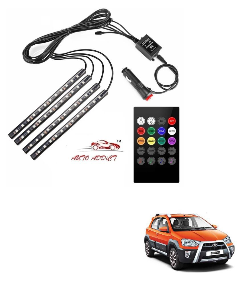 Auto Addict Car Atmosphere LED Lights 4pcs 48 LED DC 12V Multicolor Music Car Strip Light Interior LED Under Dash Lighting Kit without Sound Active Function and Wireless Remote Control For Toyota Etios Cross
