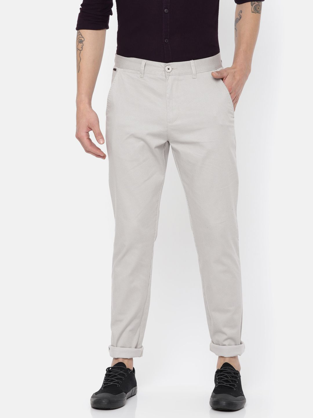 The Indian Garage Co. Grey Slim -Fit Flat Chinos
