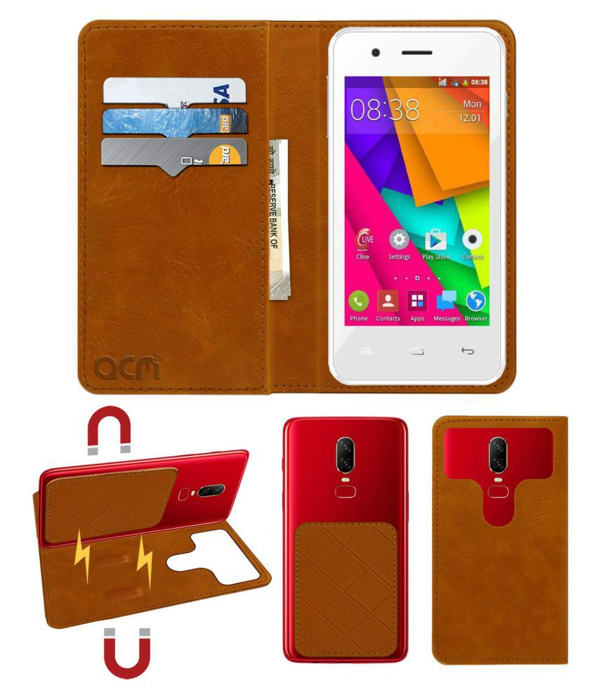 Celkon A406 Flip Cover by ACM - Golden 2 in 1 Detachable Case,Attachable Flip With Magnet