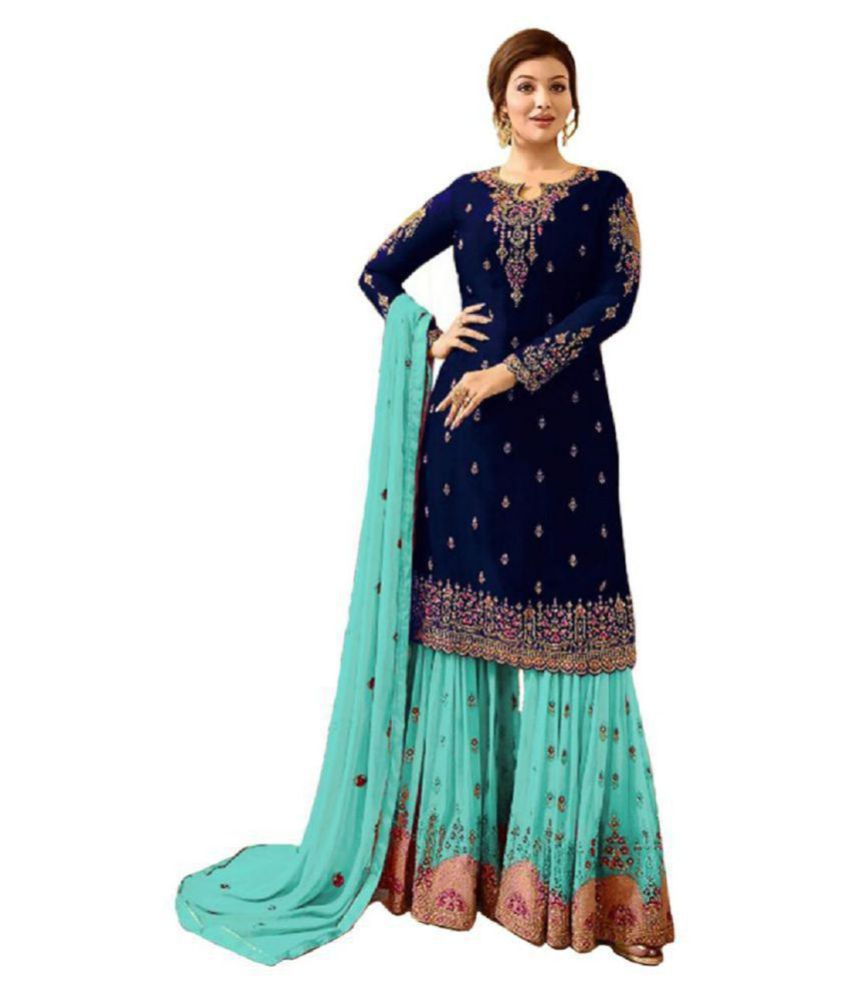 cba0b73b0bc6 VIHA Navy Georgette Pakistani Semi-Stitched Suit - Buy VIHA Navy Georgette  Pakistani Semi-Stitched Suit Online at Best Prices in India on Snapdeal