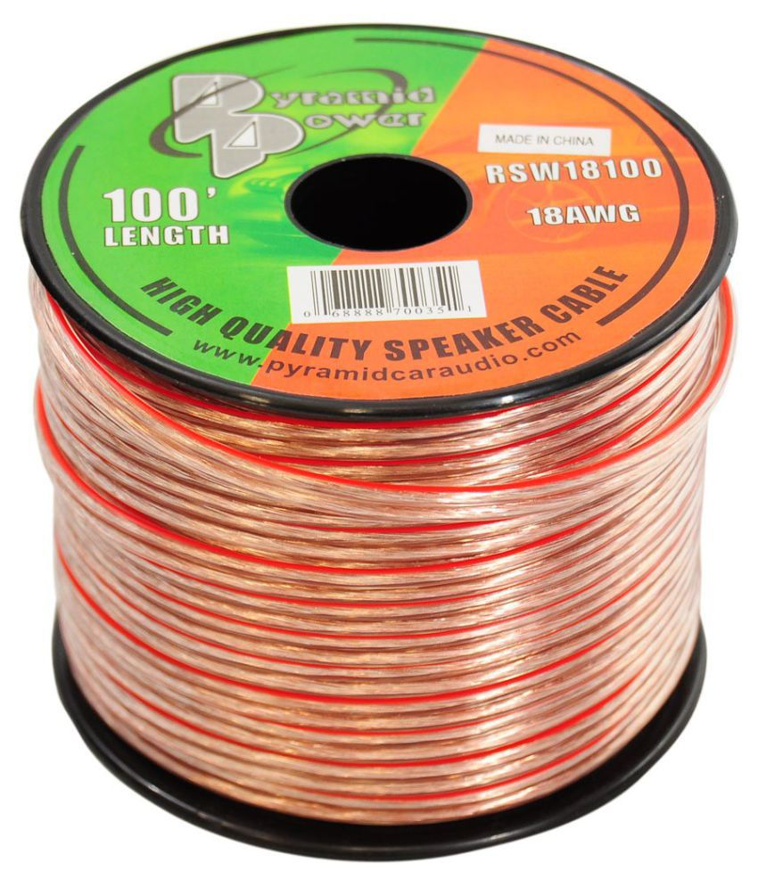 100ft 18 Gauge Speaker Wire Copper Cable In Spool For Connecting