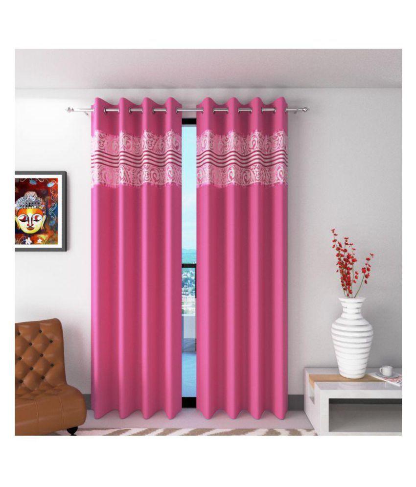 Future Trends Set of 2 Window Blackout Room Darkening Eyelet Polyester Curtains Pink