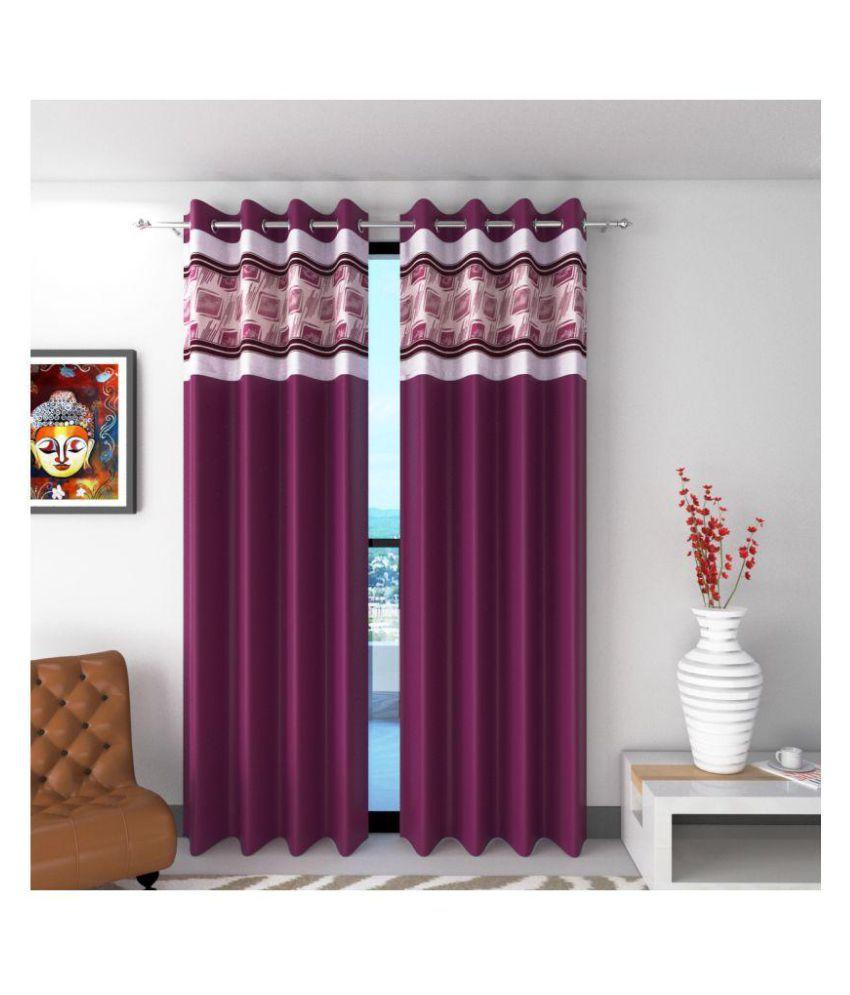 Future Trends Set of 2 Long Door Blackout Room Darkening Eyelet Polyester Curtains Purple