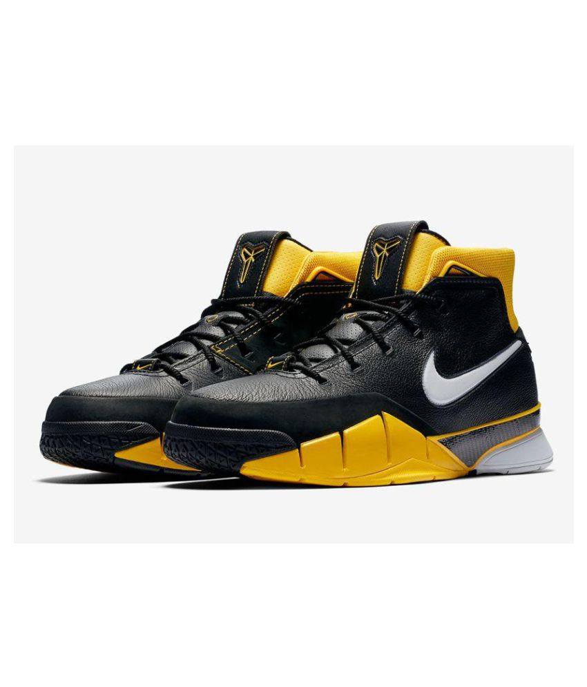 new products 182dd ff89f Nike Air Uptempo Kobe Black Yellow Midankle Male Black  Buy Online at Best  Price on Snapdeal