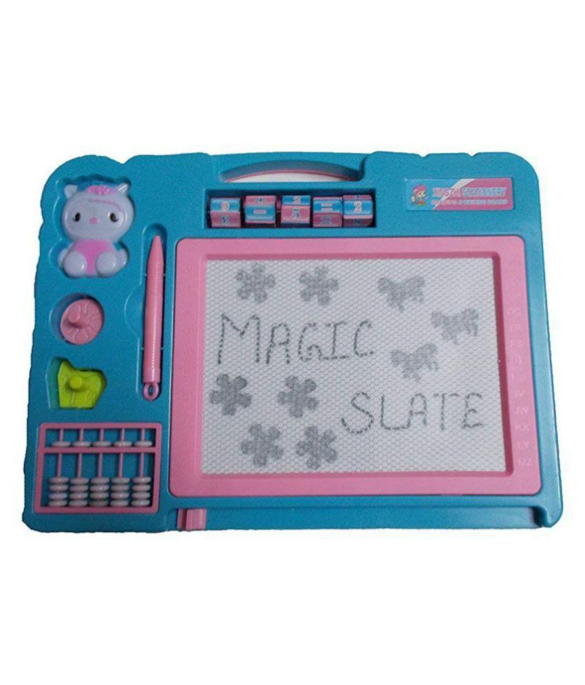 SHUANGYOU Totam Magic Black Double Sided Slate Chalk Board (Colour May Vary)