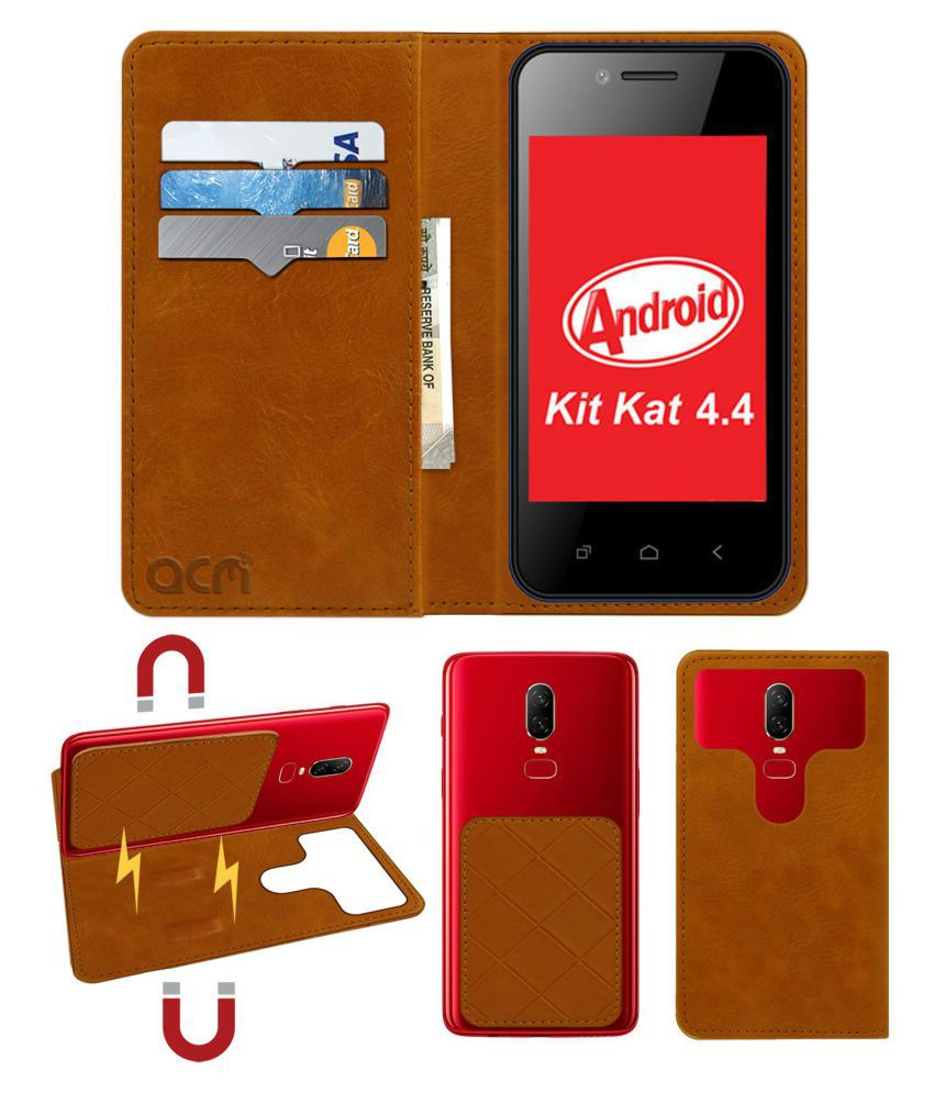 Celkon Campus A15k Flip Cover by ACM - Golden 2 in 1 Detachable Case,Attachable Flip With Magnet