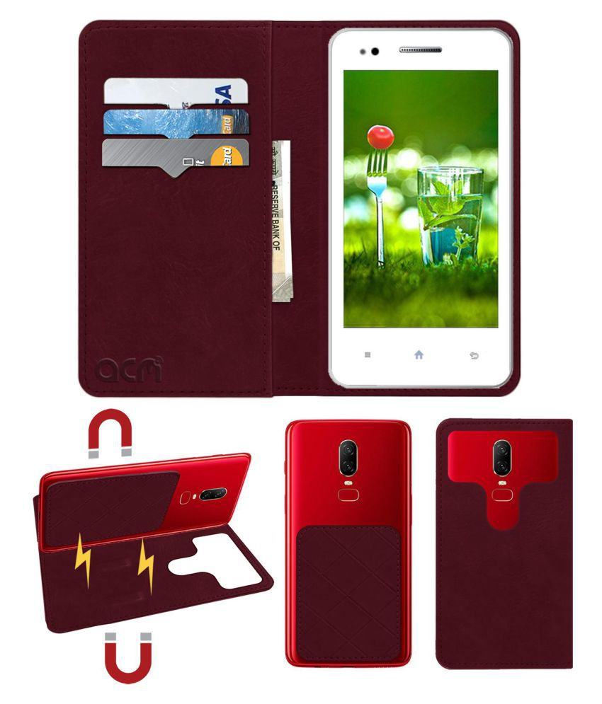 EMERIN VETO Flip Cover by ACM - Red 2 in 1 Detachable Case,Attachable Flip With Magnet