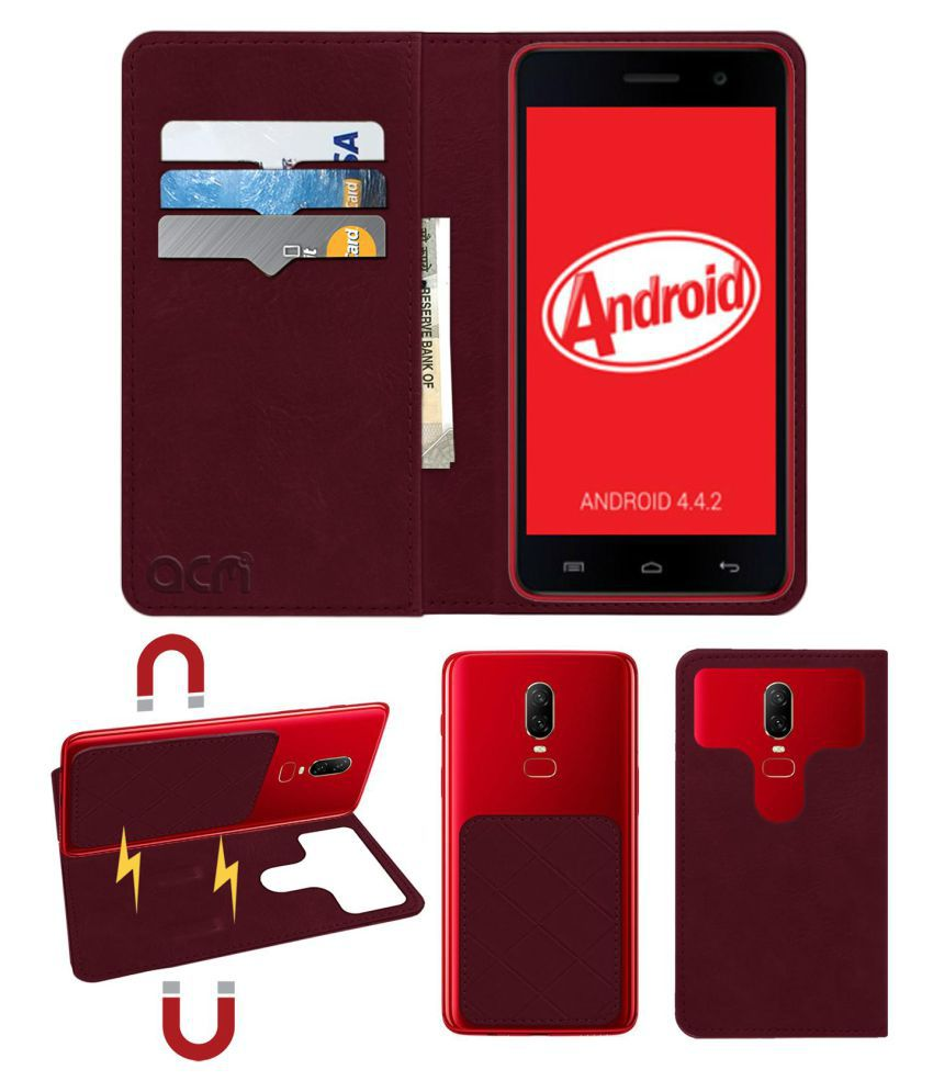 Micromax Canvas Unite A092 Flip Cover by ACM - Red 2 in 1 Detachable Case,Attachable Flip With Magnet