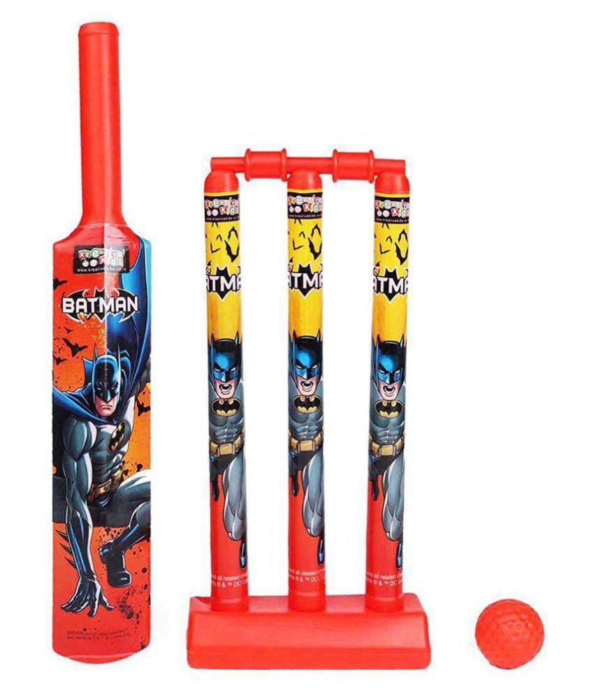 Plastic Batman Mini Cricket Pack with 1 Bat/Ball/3 Wickets/Base and Bail (Multicolour)