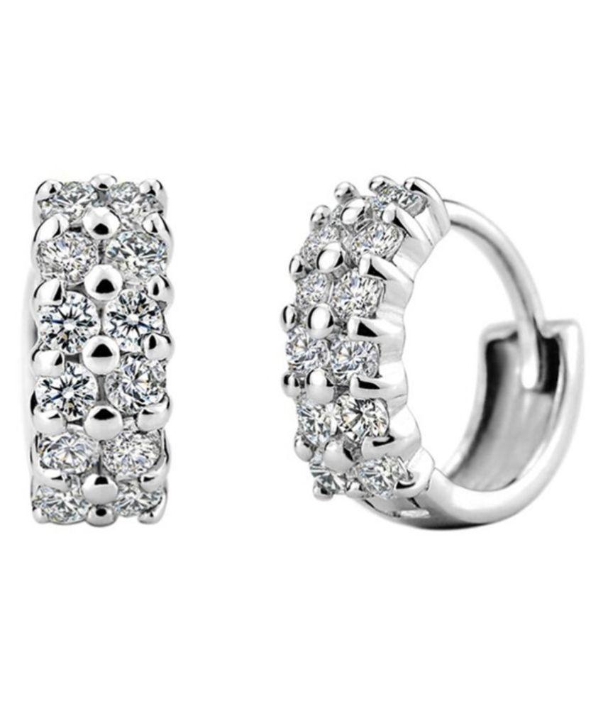 Swarovski Sterling Silver 22k White Gold plated Ring Type Earrings for Women Gem Earrings Starry Star Clip on Earrings for Girls By Stylish Teens