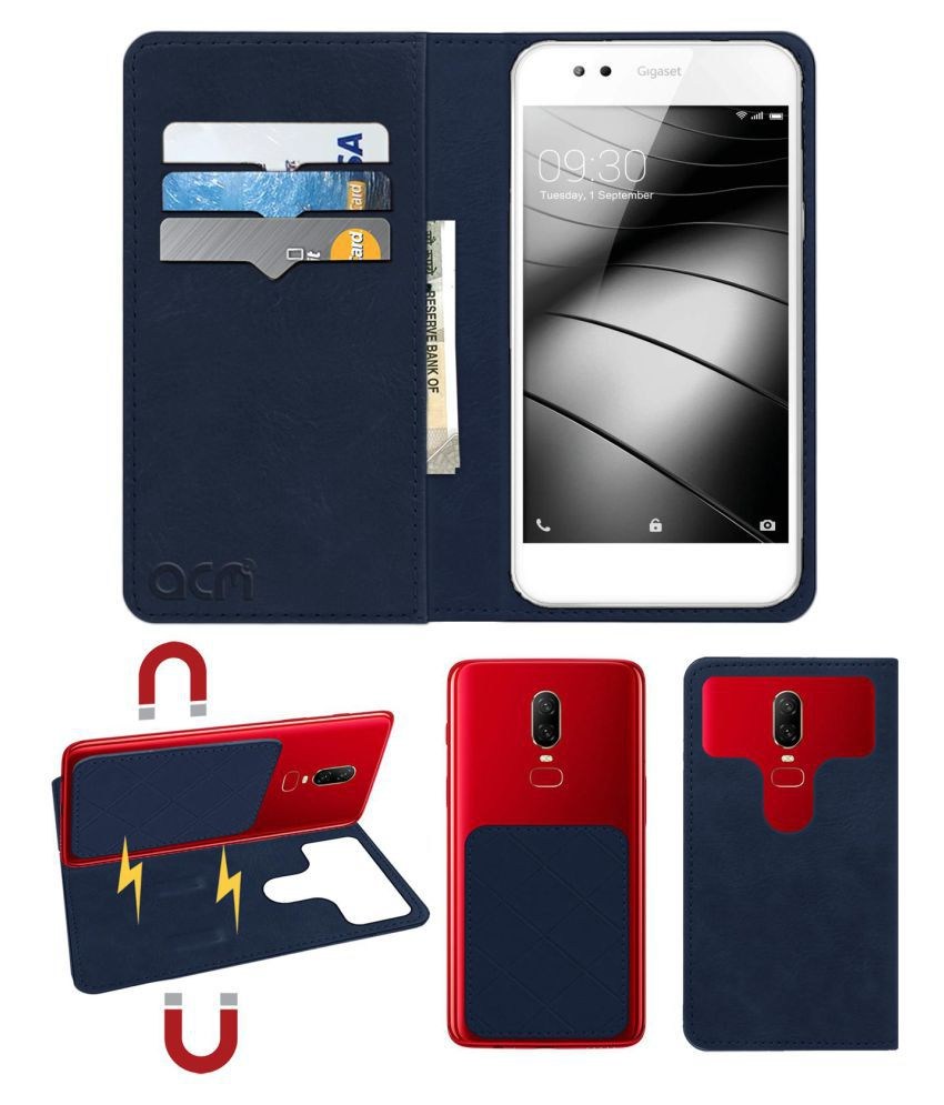 GIGASET GS-53 Flip Cover by ACM - Blue 2 in 1 Detachable Case,Attachable Flip With Magnet