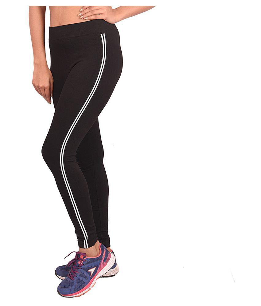 Ziva Fashion Girls Black Poly Cotton, Side Patti Pattern Full Length Slim Fit Leggings/Jeggings