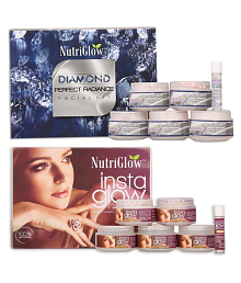 Nutriglow Facial Kit Diamond Radiance & Insta Glow facial kit(260+260)g gm Pack of 2