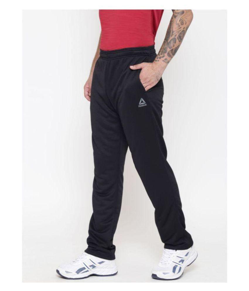 Reebok Black Polyester Lycra Trackpant
