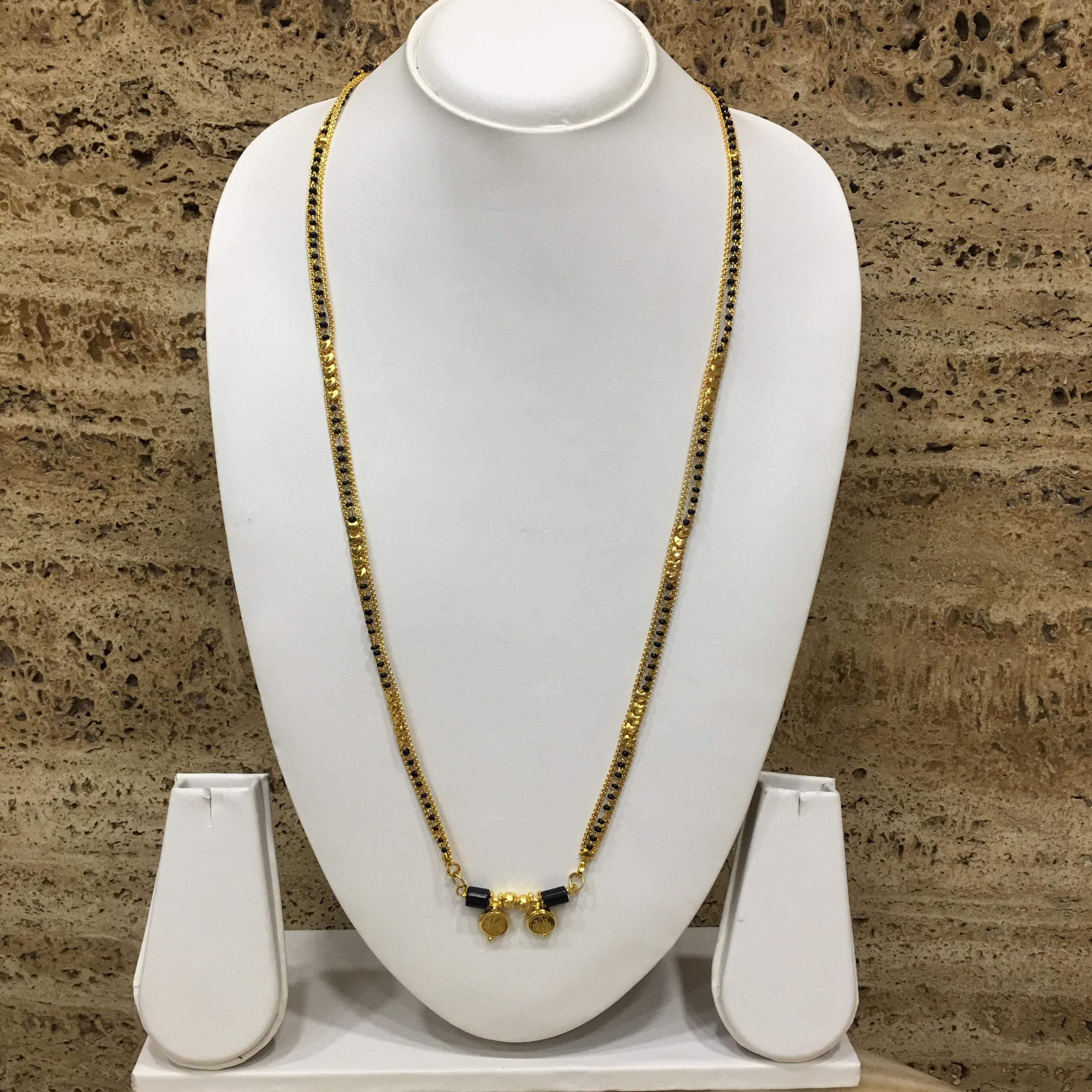 Digital Dress Women's Jewellery Gold Plated Mangalsutra Necklace 36-inch Length Chain Golden 2 Laxmi Coin Vati Tanmaniya Pendant Traditional Black & Gold Beads Single Line Layer Long Mangalsutra