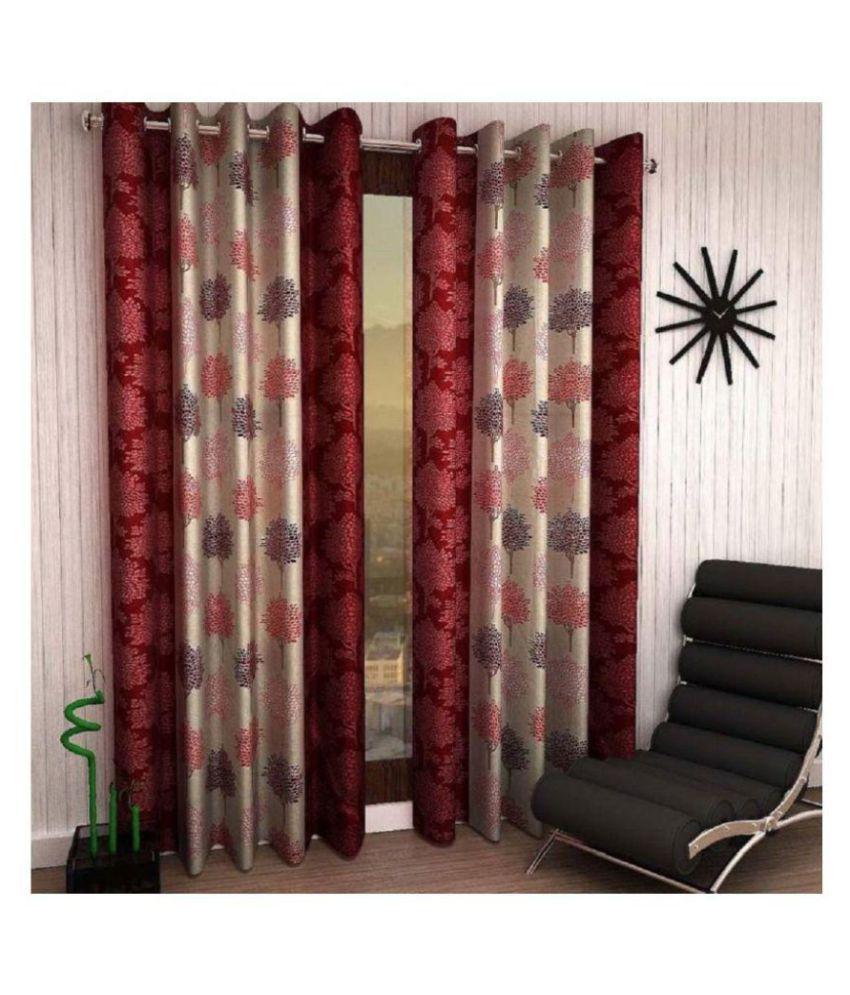 Geonature Set of 4 Window Semi-Transparent Eyelet Polyester Curtains Maroon