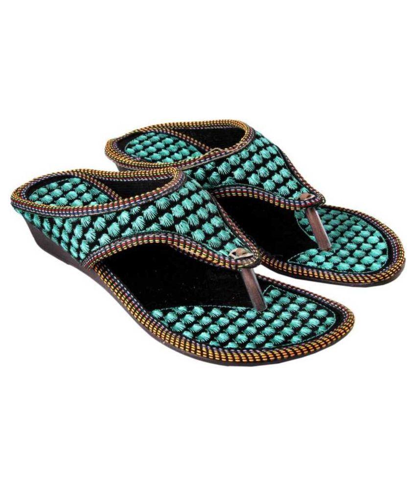 Kesar Designs Blue Wedges Heels